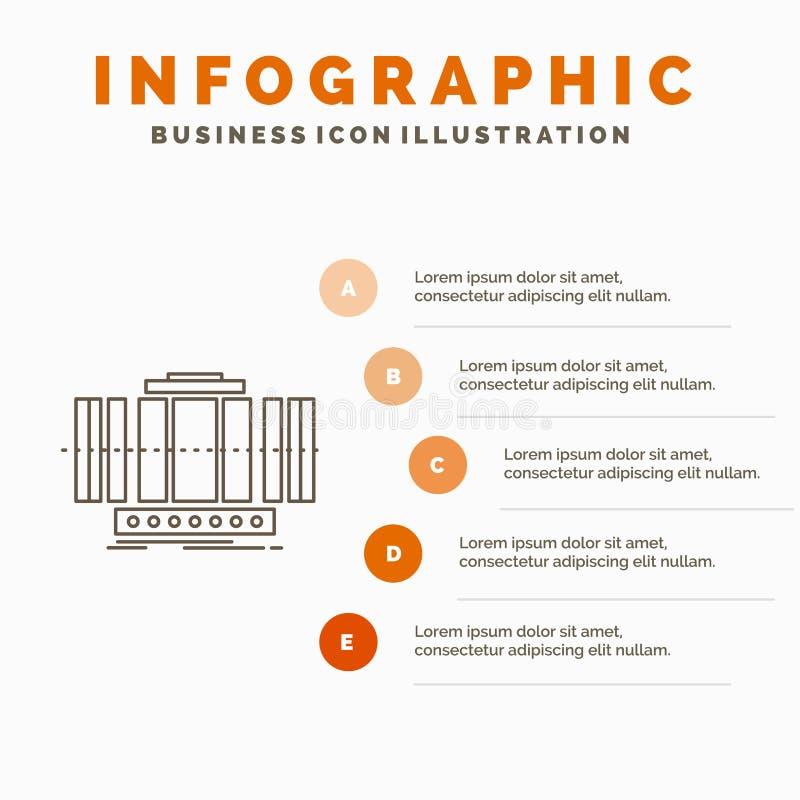 Turbin, lodlinje, axel, vind, teknologiInfographics mall f?r Website och presentation Linje gr? symbol med apelsinen stock illustrationer
