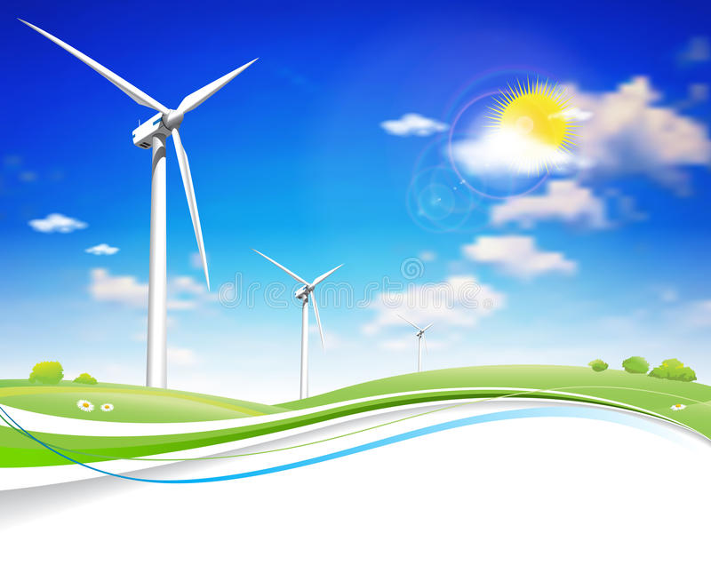 Turbina das energias eólicas ilustração stock