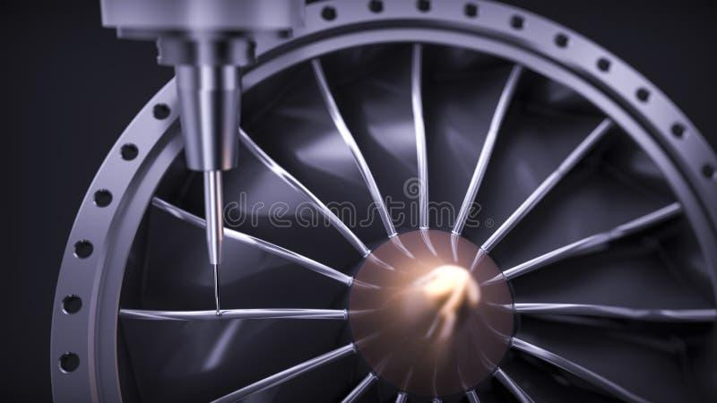 Turbina de alumínio de trituração do Cnc na máquina de cinco linhas centrais foto de stock royalty free
