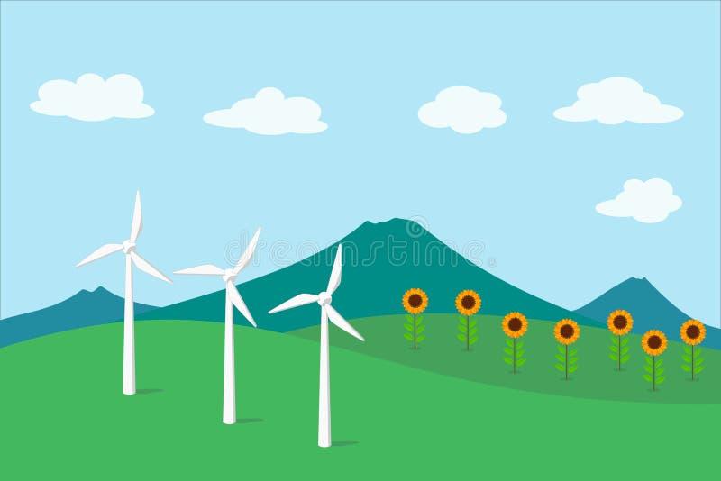 Turbina de la energía eólica, generador de la energía eólica stock de ilustración
