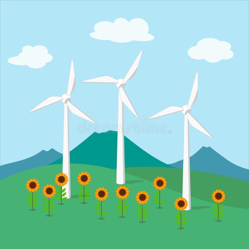 Turbina de la energía eólica, generador de la energía eólica libre illustration