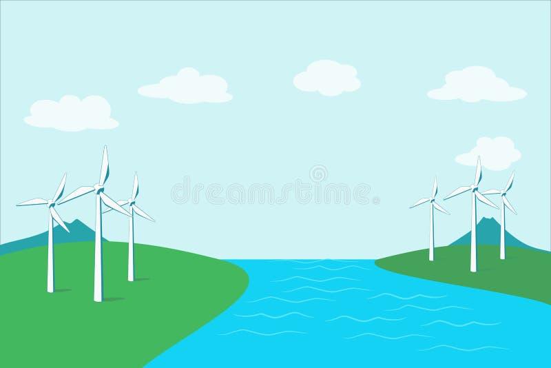 Turbina de la energía eólica, generador de la energía eólica ilustración del vector