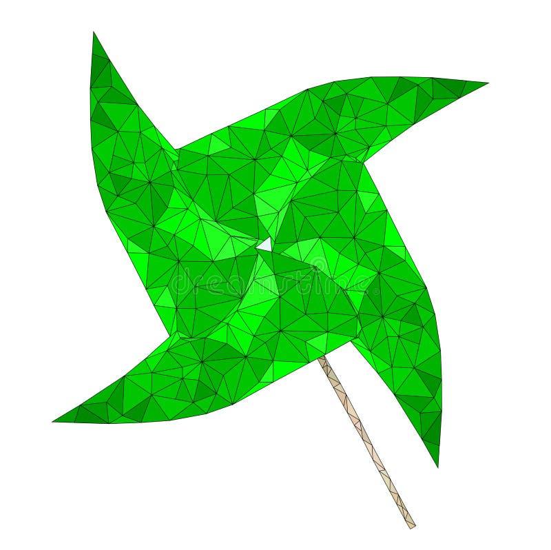 Turbina de viento aislada del Libro Verde en el fondo blanco, vector del objeto ilustración del vector