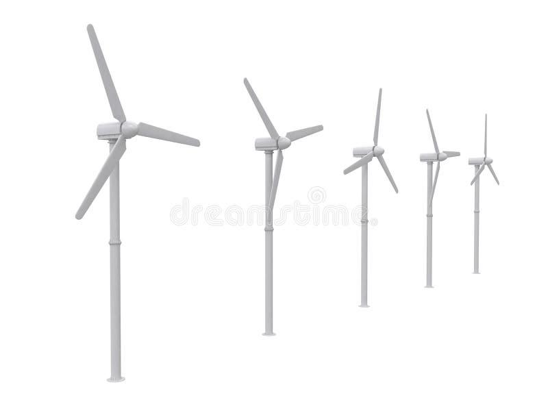 Turbina de viento aislada en el backgroung blanco, representación 3d libre illustration