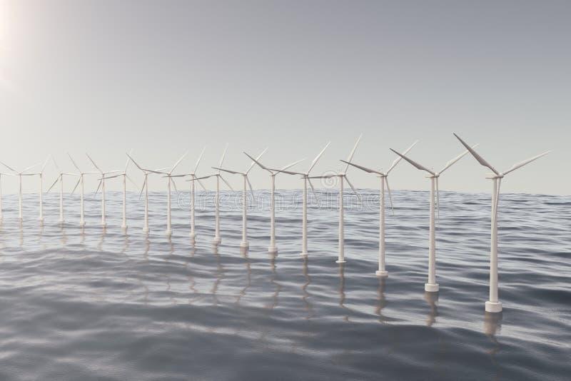Turbina de viento blanca que genera electricidad en el mar, océano Energía limpia, energía eólica, concepto ecológico representac stock de ilustración
