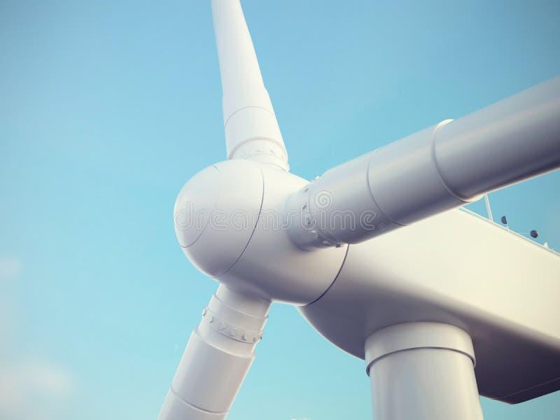 Turbina de viento con el cielo azul alta resolución del ejemplo 3d stock de ilustración
