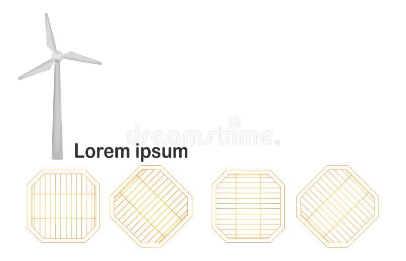 Turbina de viento con los paneles solares aislados en el fondo blanco ilustración del vector