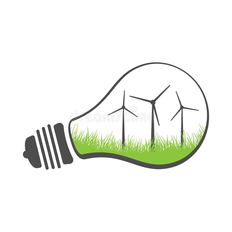Turbina de viento del concepto de la energía de Eco en una bombilla Ejemplo limpio de la energía renovable del vector Aislado en  ilustración del vector