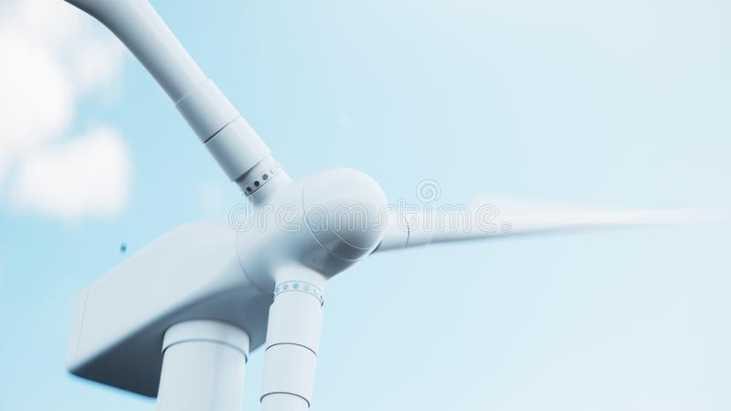 Turbina de viento del primer que genera electricidad en fondo del cielo azul Energ?a limpia, energ?a e?lica, concepto ecol?gico,  stock de ilustración
