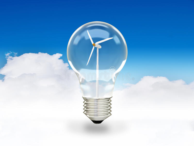 Turbina de viento en bombilla libre illustration