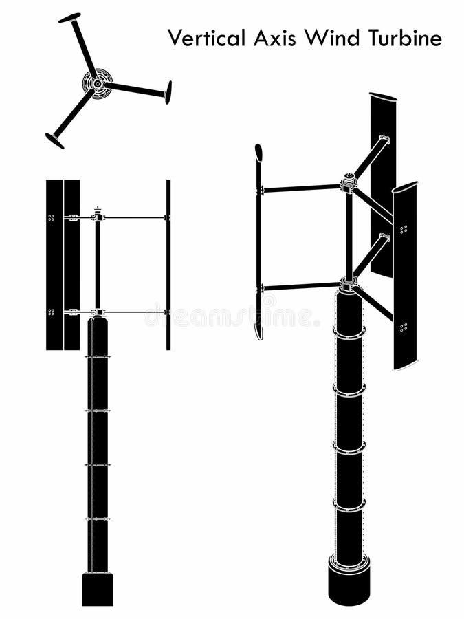 Turbina de viento vertical del eje Terraplén negro libre illustration