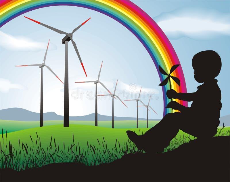 Turbina di vento e del ragazzo immagini stock