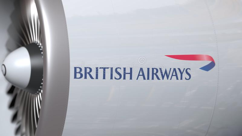 Turbina do avião com logotipo de British Airways Rendi??o 3D conceptual editorial ilustração royalty free