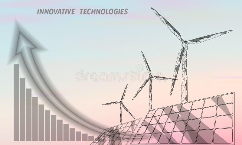Turbina dos moinhos de vento dos painéis solares que gera a eletricidade Ambiente verde da economia da ecologia Poder renovável b ilustração stock