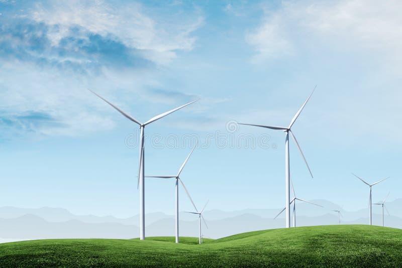 Turbina eólica com céu azul imagens de stock royalty free