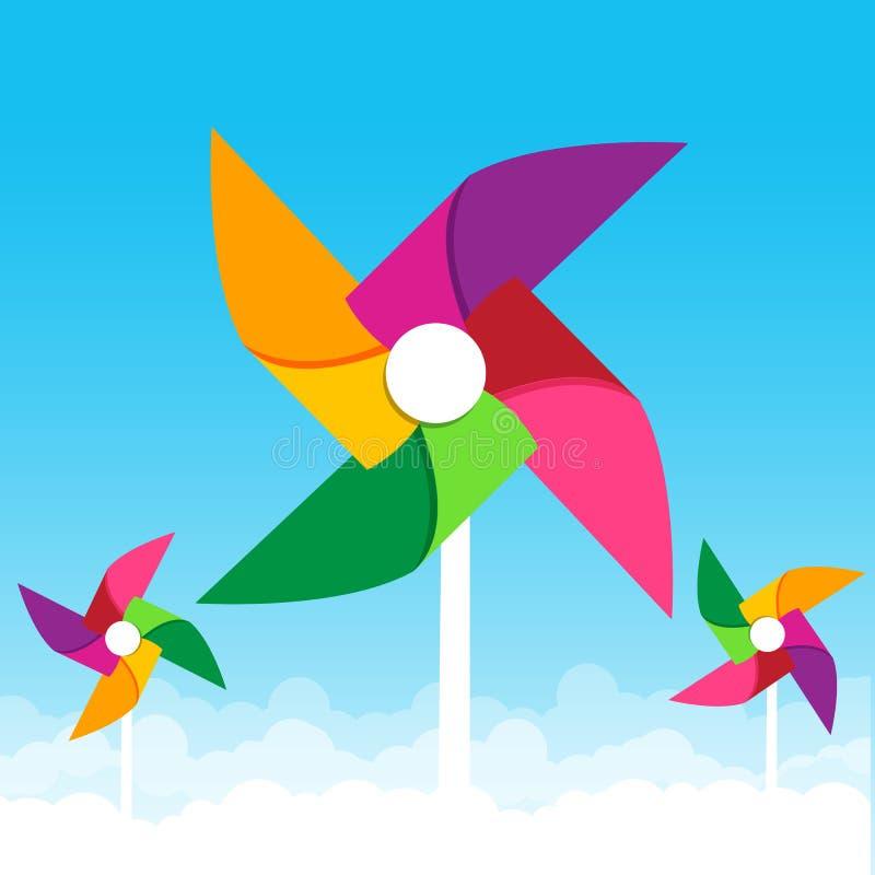Turbina eólica de papel colorida no illust do vetor do fundo do céu azul ilustração royalty free