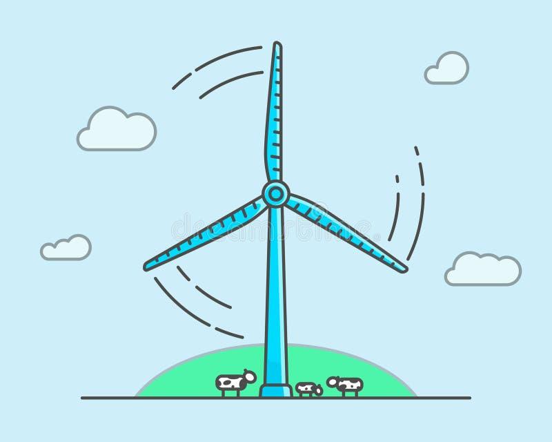 Turbina eólica dos desenhos animados em claro - fundo azul, conceito da ecologia ilustração royalty free