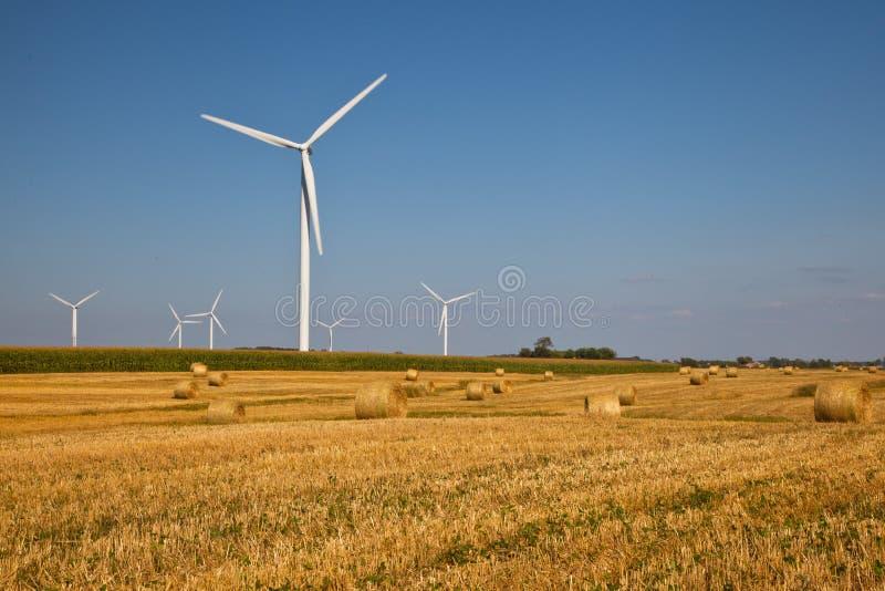 Turbina eólica no campo do fazendeiro imagens de stock royalty free