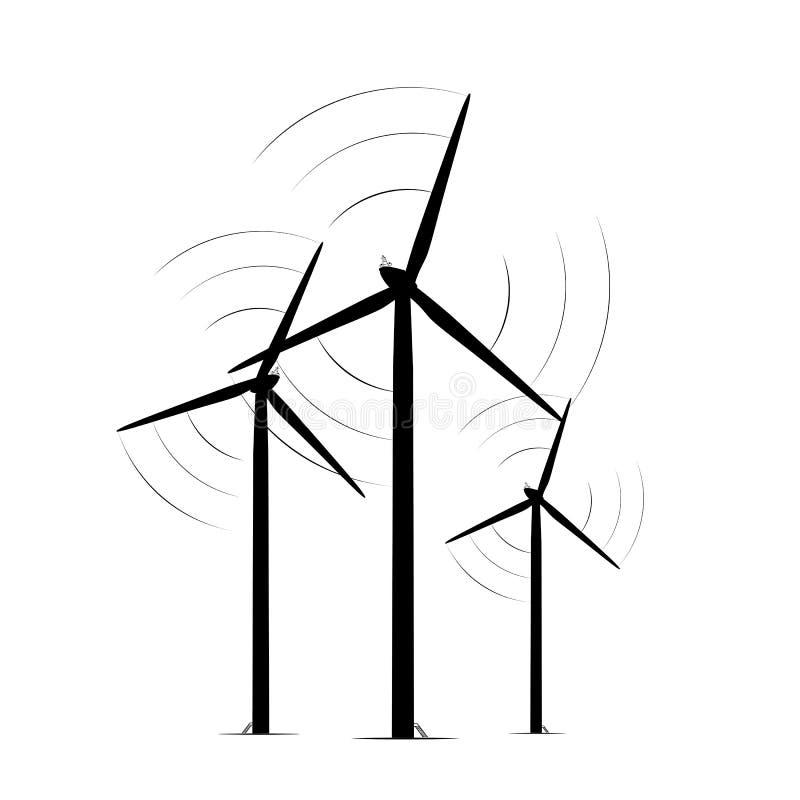 A turbina eólica terrestre eleva-se exploração agrícola de energia renovável ilustração stock