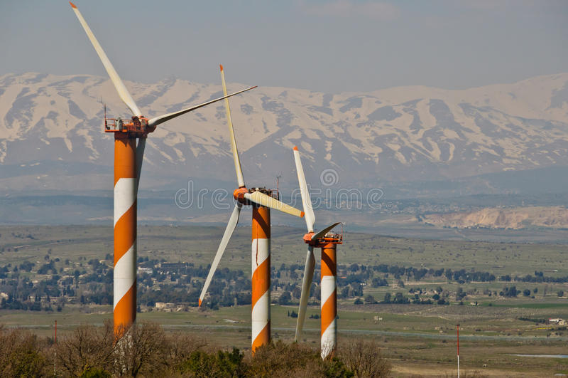 turbina wiatrów rolni wzgórze golan obrazy stock