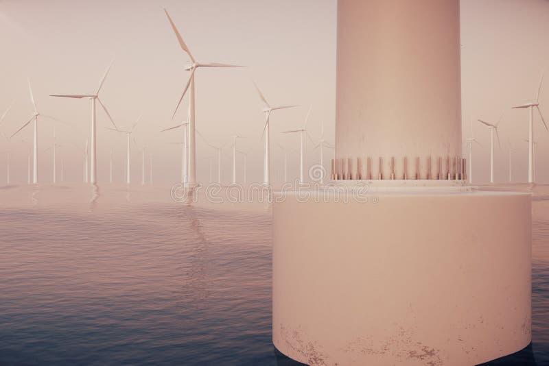 Turbinas costeras del parque eólico cogidas en cielo de la puesta del sol Contraste hermoso con el mar azul Concepto ecológico re stock de ilustración