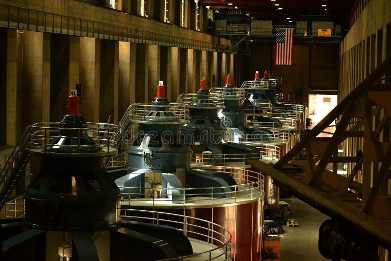 Turbinas da barragem Hoover foto de stock