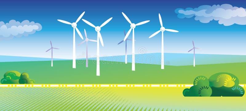 Turbinas de vento ilustração stock