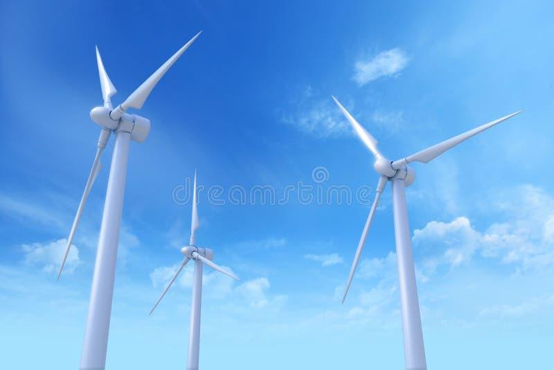 Turbinas de vento, campo amarelo Rendição de Photoreal 3D ilustração stock