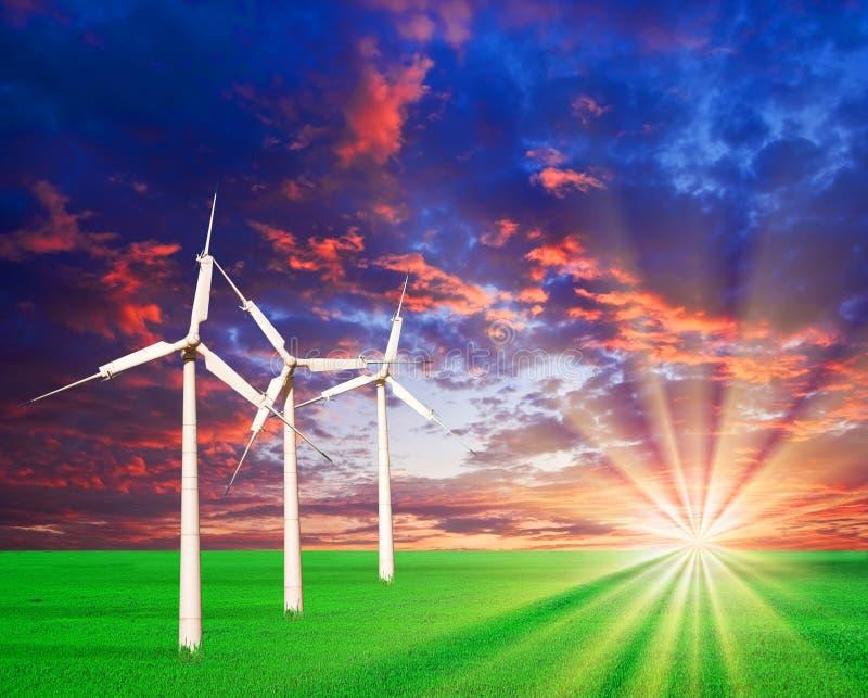 Turbinas de vento em um campo verde imagem de stock