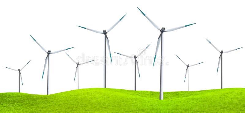 Turbinas de vento isoladas no campo verde imagens de stock