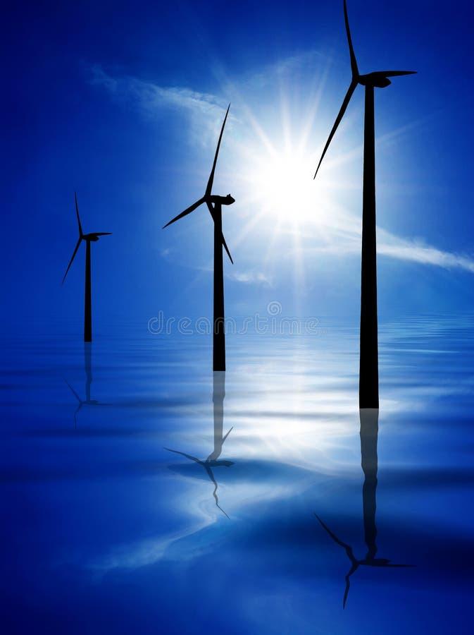 Turbinas de vento na água azul ilustração do vetor