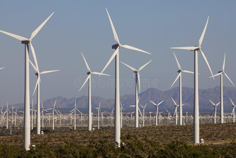 Turbinas de vento na exploração agrícola do moinho de vento da energia alternativa fotografia de stock royalty free