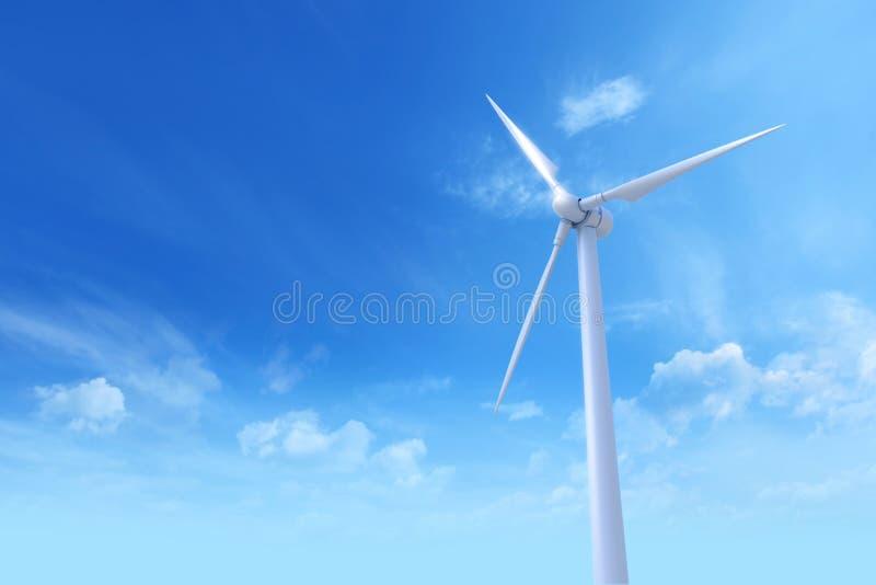 Turbinas de vento no campo verde Photoreal 3D rende ilustração royalty free