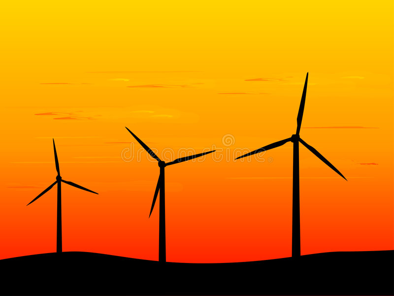 Turbinas de vento novas da energia ilustração stock
