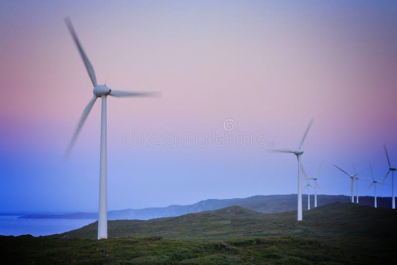 Turbinas de viento antes del amanecer, viento Farn, Australia occidental de Albany imágenes de archivo libres de regalías