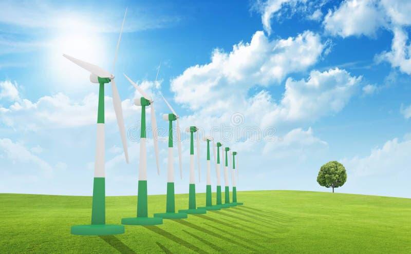 Turbinas de viento, campo amarillo ilustración del vector