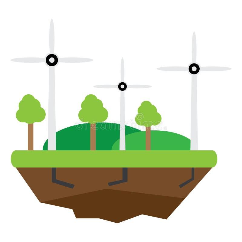 Turbinas de viento, campo amarillo Imagen conceptual de la energía limpia stock de ilustración