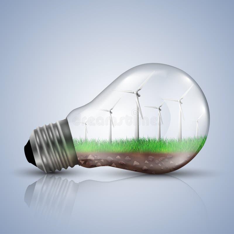 Turbinas de viento con un cielo claro en una bombilla libre illustration