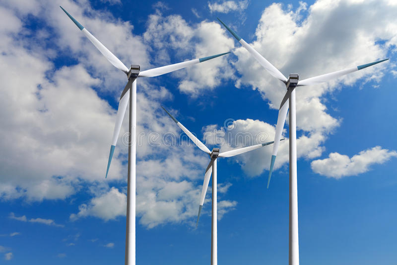 Turbinas de viento, ecología global fotos de archivo