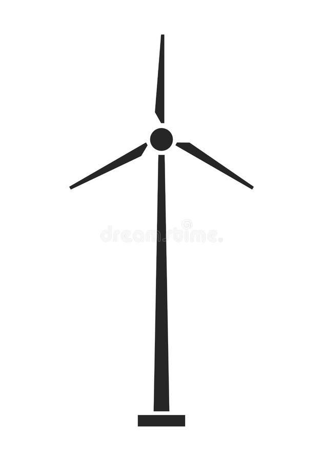 Turbinas de viento en campo verde Fuente de energía Icono plano, silueta aislada en el fondo blanco Vector stock de ilustración