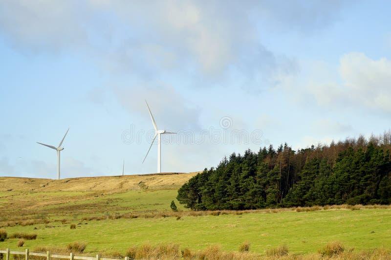 Turbinas de viento en Oswaldtwistle imagenes de archivo