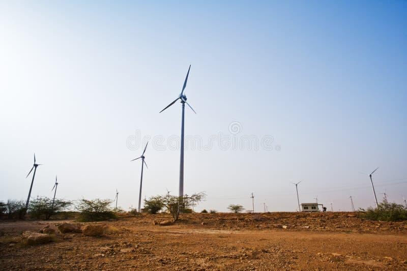 Turbinas de viento, Jaisalmer, Rajasthán, la India fotografía de archivo