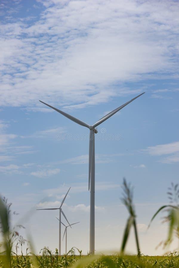 Turbinas de viento majestuosas en Rumania foto de archivo