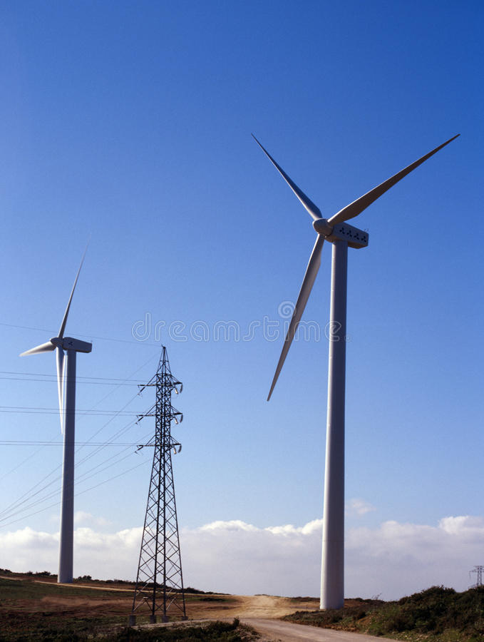 Turbinas de viento - producción de energía fotografía de archivo