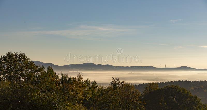 Turbinas de viento rurales de la colina del bosque de los árboles de la mañana de la niebla de la niebla del paisaje imagen de archivo
