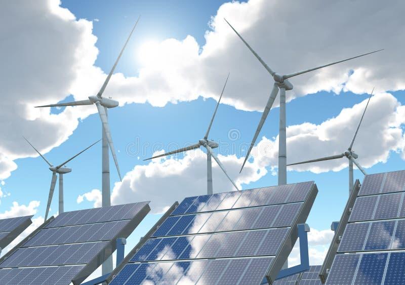 Turbinas de viento y los paneles solares ilustración del vector