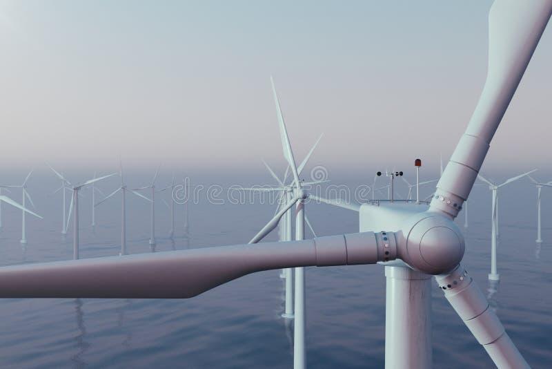 Turbinas eólicas bonitas do por do sol no mar, oceano Energia limpa, energias eólicas, conceito ecológico rendição 3d ilustração stock