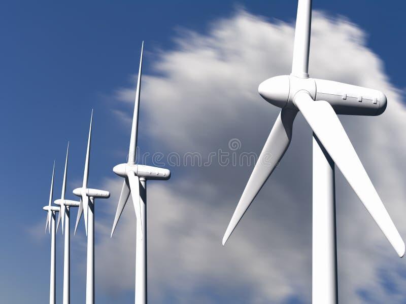 Turbinas eólicas com céu e nuvens no fundo fotografia de stock royalty free