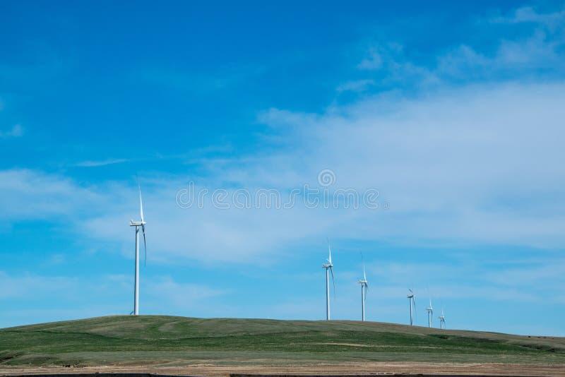 Turbinas eólicas contra campos da pradaria e céus azuis grandes foto de stock