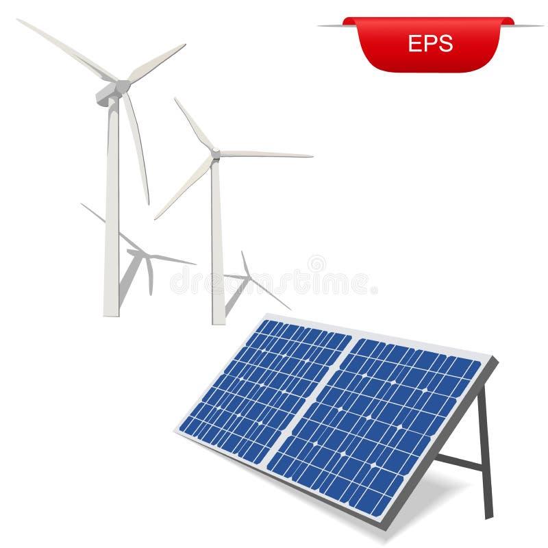 Turbinas eólicas e painel solar, ilustração do vetor ilustração stock